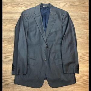Sarar Solid Blue Sharkskin Blazer 38R